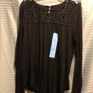 Black lace top tee shirt